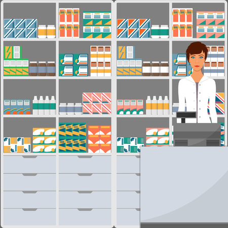 Woman pharmacist in a pharmacy opposite the shelves with medicines. Vector illustration in flat style
