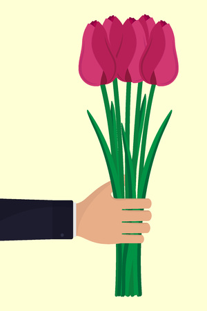 Man s hand with a bouquet of flowers. Hand in a business suit, holding tulips. Vector illustration in flat style.