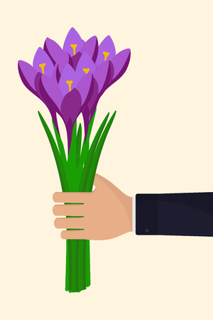 Man s hand with a bouquet of flowers. Hand in a business suit, holding bouquet of crocuses. Vector illustration in flat style. Illusztráció