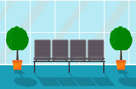 Waiting hall in some office building. Corridor. Chairs and decorative trees in pots, large window. Vector flat illustration