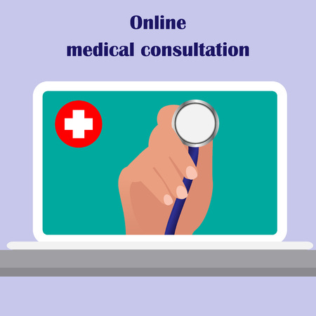 On the laptop screen the doctor s hand holding stethoscope, aimed at the viewer. Online medical consulting concept. Tele, online, remote medicine concept. Vector flat illustration. Çizim