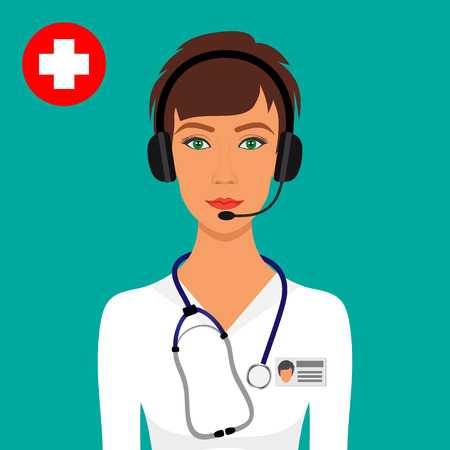 Woman doctor with a stethoscope around her neck and headphones with a microphone on the head. Online medical consultation and support concept. Vector illustration in flat style.