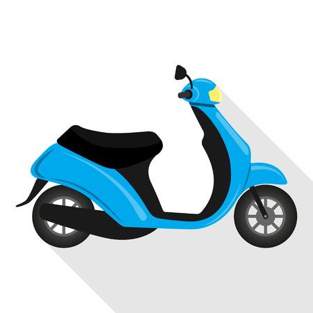 Leuke motor die op witte achtergrond wordt geïsoleerd. Bromfiets, scooter, fiets. Vector illustratie.