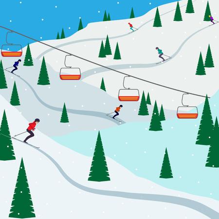 Skigebied sneeuw berglandschap, skiërs op hellingen, skiliften. Winterlandschap met skihelling bedekt met sneeuw, bomen en bergen op de achtergrond. Cartoon platte vectorillustratie.