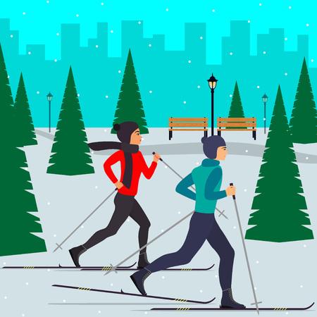 男と女のスキーヤーのモミの木の中で雪に覆われた都市公園の動き。フラット スタイルのベクトル図