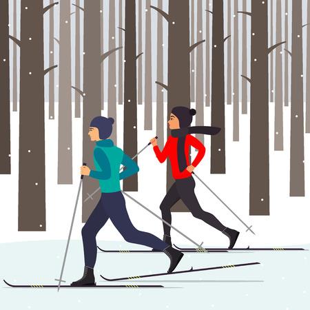 男と女のスキーヤーのモミの木の中で雪に覆われた都市公園の動き。フラット スタイルのベクトル図です。