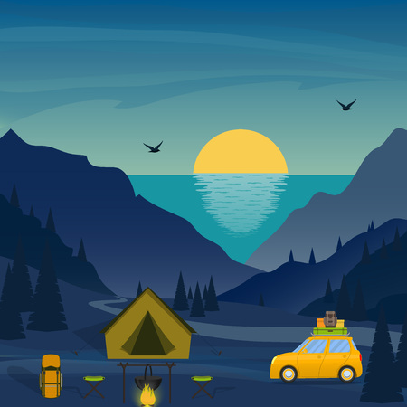 Tent, campfire, travel backpack, car among a mountainous landscape. Sea and sunset or sunrise on background. Beautiful vector illustration in flat style. Illustration