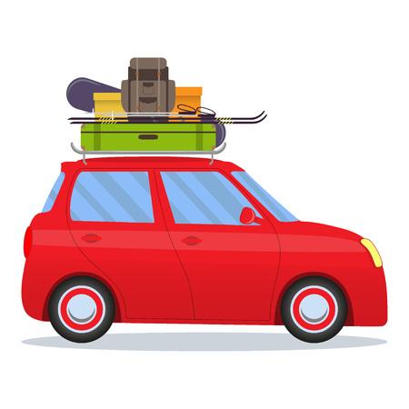 Cute small car with ski and snowboard, backpack and suitcase on the roof. Vector illustration, isolated on white background.