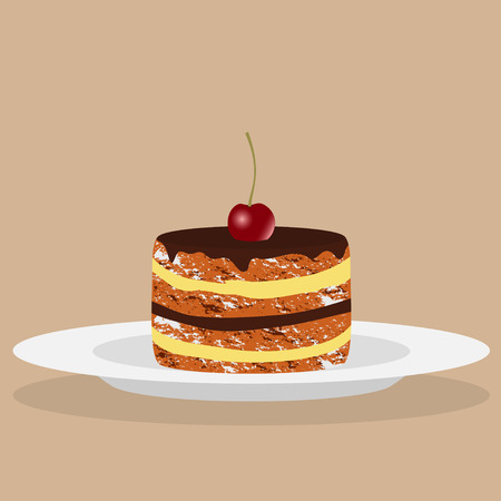 Delicious cake with cream, chocolate and cherry. Vector illustration.