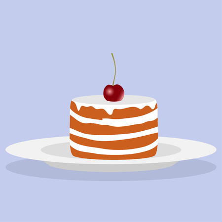 Delicious cake with cream and cherry. Vector illustration. Illustration