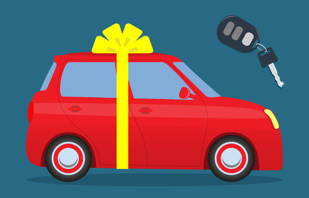 Cute car with a bow. Key with the thumb. Car as a gift. Vector illustration