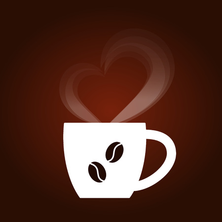 Dark coffee background with white cap, steam in the shape of a heart, coffee beans. Vector illustration, concept of advertising for coffee shops, cafes, shop