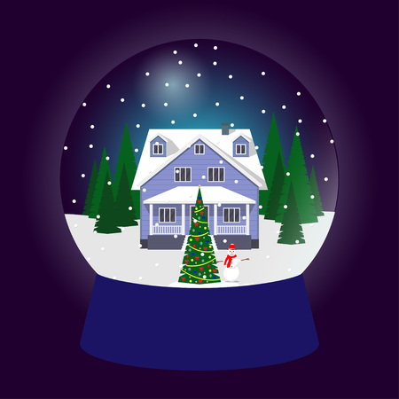 Snow globe, traditional Christmas gift. Christmas souvenir, glass ball with beautiful house surrounded by trees in snow. Vector illustration