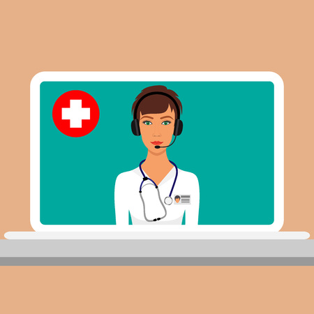 Woman doctor with a stethoscope around her neck and headphones with a microphone on the head on laptop screen. Online medical consultation and support concept. Vector illustration in flat style. Illustration