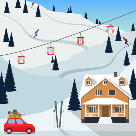 Ski resort snow mountain landscape, skiers on slopes, ski lifts, a house, a car with the ski equipment pulls up to the resort. Vector illustration in flat style
