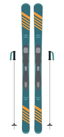 Modern ski and sticks isolated on white. Skiing equipment. Winter sports icon. Vector illustration in flat style.