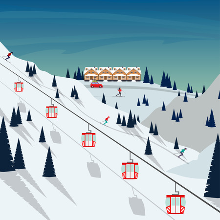 Ski resort snow mountain landscape, skiers on slopes, ski lifts. Winter landscape with ski slope covered with snow, trees and mountains on background. Cartoon flat vector illustration