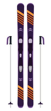 Moderne ski en stokken geïsoleerd op wit. Ski uitrusting. Wintersport pictogram. Vectorillustratie in vlakke stijl. Stock Illustratie
