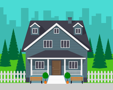 Classic cottage house with trees and road. Private house and city on background. Vector illustration, flat style Illustration