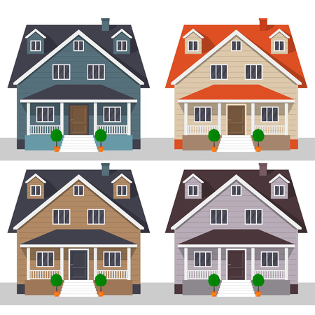Classic cottage houses, set. Private houses, isolated on white. Vector illustration, flat style