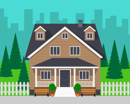 Classic cottage house with trees and road. Private house and city on background. Vector illustration, flat style.