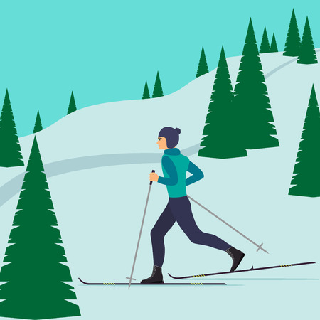 Man skier in motion on a snowy hill among the fir trees. Cross country skiing man. Young man on skies. Vector illustration in flat style