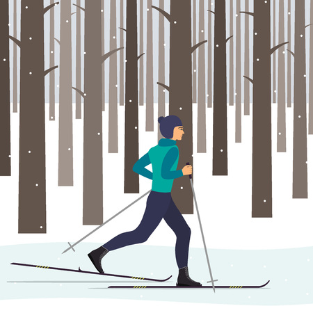 Man skier in motion in a snowy winter forest among the trees. Vector illustration in flat style.