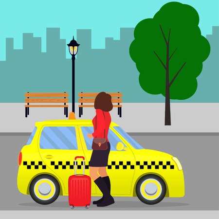 Woman with the suitcase out of the taxi or getting in a cab on city street. Vector illustration