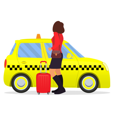 Woman with the suitcase out of the taxi or getting in a cab. Vector illustration