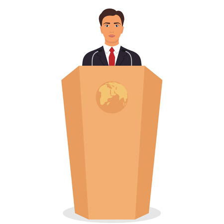 Man in a business suit stands on a podium in front of the microphones. Important event, business conference concept. Vector illustration