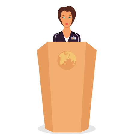 Woman in a business suit stands on a podium in front of the microphones. Woman orator speaking from tribune. Vector illustration