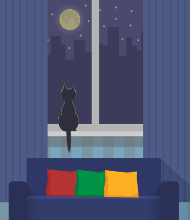 Silhouette of a cat sitting on a windowsill under the light of the moon. Night city outside the window. Cozy interior with sofa and pillows in the foreground. Vector illustration Illustration