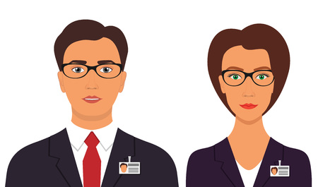 Man and woman in business suits with badges and glasses. Business avatar profile picture. Vector illustration, isolated
