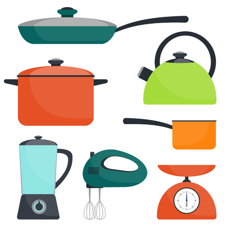 Kitchen utensils, set. Frying pan, saucepan, kettle, mixer blender scales Vector flat illustration Çizim
