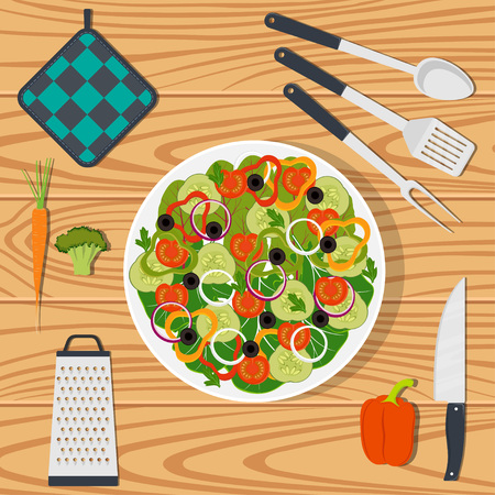 Cooking healthy vegan food on the kitchen table, ingredients and utensils. Plate with vegetables, knife, spatula, oven mitts, grater. Vector illustration