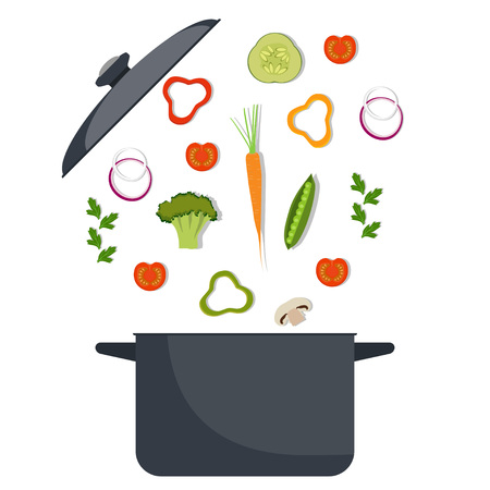 Vegetables and pan. Broccoli, pepper, red tomato, carrot, onion greens Cooking process vector illustration