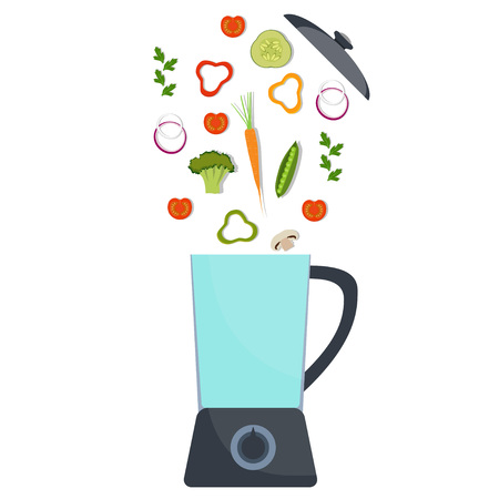 Blender with different vegetables. Broccoli, pepper, red tomato, carrot, onion, greens Vector illustration in flat style