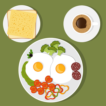 Traditional Breakfast. Scrambled eggs with vegetables and sausage, toast with cheese and coffee vector illustration in flat style. Illustration