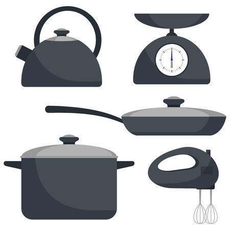 Kitchen utensils, set. Frying pan, saucepan, kettle mixer scales Vector flat illustration