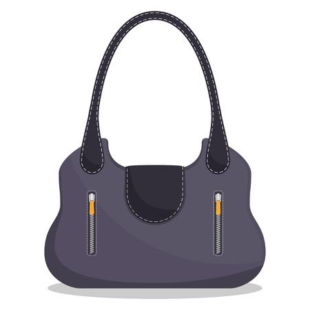 Stylish colorful leather handbag with white stitching. Fashionable women s bag isolated on white background. Vector illustration in flat style Stock Illustratie