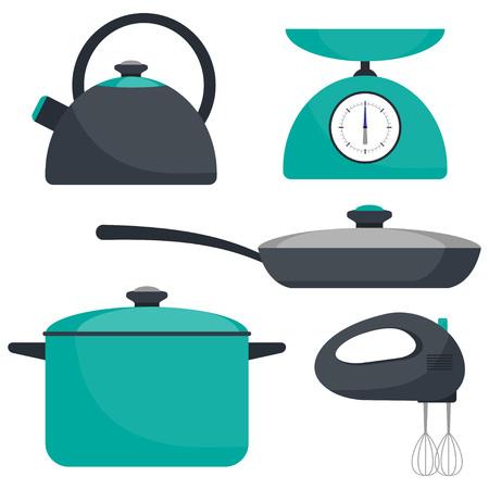 Kitchen utensils, set. Frying pan, saucepan, kettle mixer scales Vector flat illustration