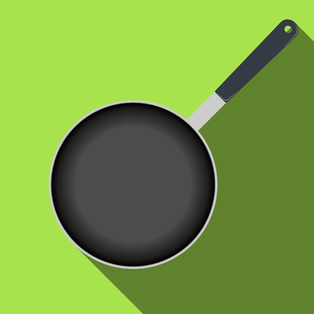 Frying pan top view, icon with long shadow. Vector illustration