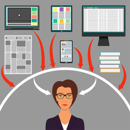 Businesswoman surrounded by gadgets, books and newspaper. Computer, smartphone, tablet, laptop and arrows to the woman s head. Protection from information overload concept. Vector