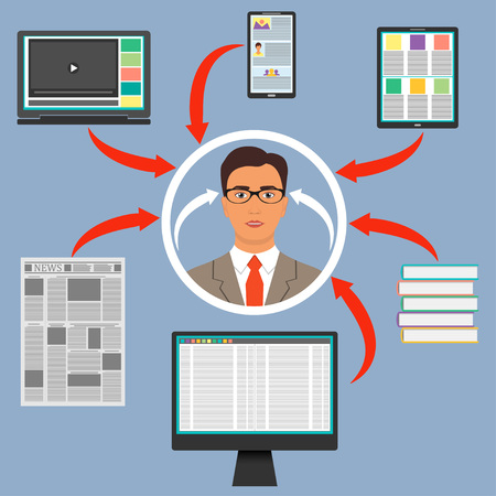 Businessman surrounded by gadgets, books and newspaper. Computer, smartphone, tablet, laptop and arrows to the woman s head. Protection from information overload concept. Vector