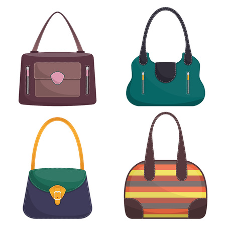 Collection of stylish colorful leather handbags with white stitching. Woman bag. Ladies handbags isolated on white background. Fashion accessories. Vector illustration in flat style.. Vectores