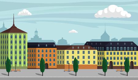 Weinlese-Europa-Stadtlandschaftsillustration. Stadtgebäude entlang breiter Straße mit Bäumen, Bänken und Straßenlaternen. Schöne Karikaturvektorillustration Standard-Bild - 94307125