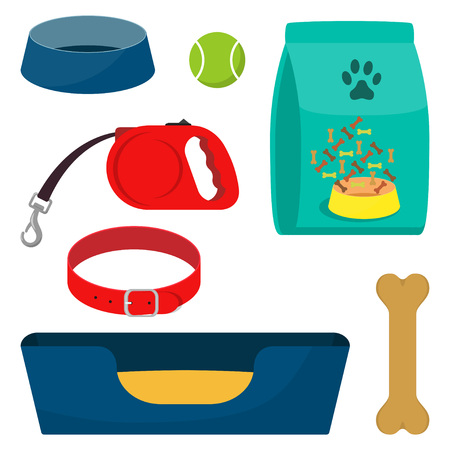 Pet care accessory, set. Pet carrier, collar, bone, bowl, food, ball a deckchair Flat style vector illustration isolated.
