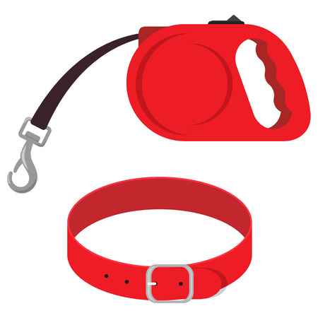 Retractable leash and collar for dog. Modern roulette lead for pets. Animal accessories for walk. Cartoon vector illustration.