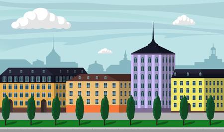 Weinlese-Europa-Stadtlandschaftsillustration. Stadtgebäude entlang breiter Straße mit Bäumen, Bänke und Straßenlaternen, schöne Karikaturvektorillustration. Standard-Bild - 94780710
