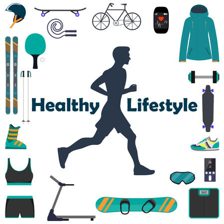 Silhouette of a running man, surrounded by icons of sports equipment for different sports. Healthy lifestyle illustration icon set for infografics. Vettoriali